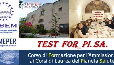 Corso TEST FOR_PI.SA CORSO DI FORMAZIONE PER L'AMMISSIONE AI CORSI DI LAUREA DEL PIANETA SALUTE